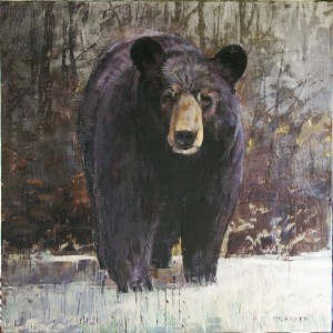 Whistler Bear Encaustic Painting